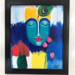 lord krishna, 10 x 12 inch, kunjal patel,10x12inch,canvas,paintings,religious paintings,contemporary paintings,paintings for dining room,paintings for living room,paintings for office,paintings for hotel,paintings for hospital,acrylic color,GAL03266245376