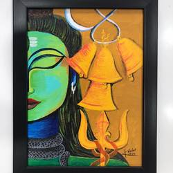 lord shiva, 9 x 12 inch, kunjal patel,9x12inch,canvas board,paintings,religious paintings,contemporary paintings,lord shiva paintings,paintings for dining room,paintings for living room,paintings for office,paintings for hotel,paintings for school,paintings for hospital,acrylic color,GAL03266245378