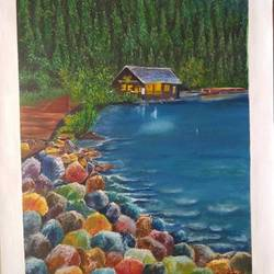 colored stone beach, 18 x 25 inch, jyoti manani (deaf & dumb),18x25inch,canson paper,paintings,abstract paintings,landscape paintings,nature paintings | scenery paintings,paintings for dining room,paintings for living room,paintings for bedroom,paintings for office,paintings for bathroom,paintings for kids room,paintings for hotel,paintings for kitchen,paintings for school,paintings for hospital,oil color,GAL02051945386