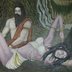 the distraction, 12 x 16 inch, kavindra  singh,religious paintings,paintings for bedroom,thick paper,oil,12x16inch,GAL016044539
