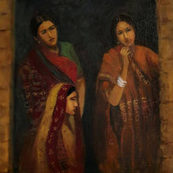 three women at the door, 10 x 10 inch, asha shenoy,10x10inch,canvas,paintings,figurative paintings,paintings for living room,paintings for office,paintings for hotel,paintings for school,paintings for hospital,acrylic color,GAL0865245399