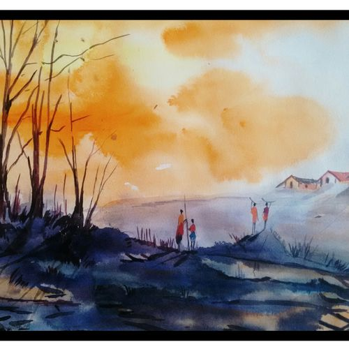 a walk, 14 x 10 inch, surya vamshi,figurative paintings,paintings for bedroom,thick paper,acrylic color,14x10inch,GAL0235454