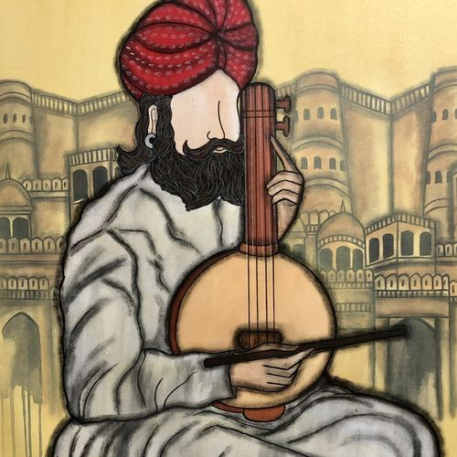 swar lahri 2, 28 x 32 inch, mrinal  dutt,28x32inch,canvas,paintings,figurative paintings,folk art paintings,expressionism paintings,contemporary paintings,paintings for dining room,paintings for living room,paintings for bedroom,paintings for office,paintings for bathroom,paintings for kids room,paintings for hotel,paintings for kitchen,paintings for school,paintings for hospital,acrylic color,mixed media,GAL01311745408