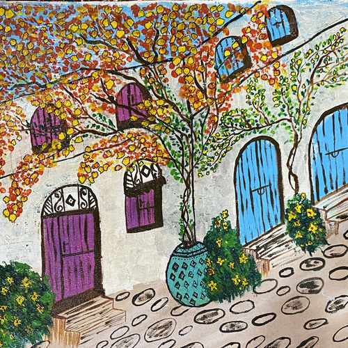 greece landscape , 18 x 14 inch, pooja lokhande,18x14inch,canvas,paintings,abstract paintings,flower paintings,landscape paintings,nature paintings | scenery paintings,paintings for dining room,paintings for living room,paintings for bedroom,paintings for office,paintings for hotel,paintings for kitchen,paintings for school,paintings for hospital,acrylic color,GAL0420545410