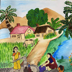 village landscape, 14 x 18 inch, pooja lokhande,14x18inch,canvas,paintings,wildlife paintings,cityscape paintings,landscape paintings,modern art paintings,still life paintings,nature paintings | scenery paintings,paintings for dining room,paintings for living room,paintings for bedroom,paintings for office,paintings for kids room,paintings for hotel,paintings for kitchen,paintings for school,paintings for hospital,acrylic color,GAL0420545413