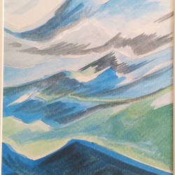 blue mountains, 11 x 16 inch, nandita basu,11x16inch,fabriano sheet,paintings,landscape paintings,nature paintings | scenery paintings,paintings for dining room,paintings for living room,paintings for bedroom,paintings for office,paintings for hospital,paper,GAL01781145417