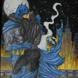 batman and catwoman, 12 x 16 inch, kavindra  singh,fine art drawings,paintings for office,thick paper,pencil color,12x16inch,GAL016044543