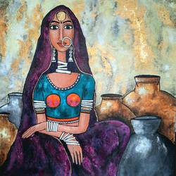 epitome of grace and elegance , 36 x 36 inch, nidhi gupta,36x36inch,canvas,paintings,figurative paintings,folk art paintings,foil paintings,modern art paintings,portrait paintings,art deco paintings,contemporary paintings,paintings for dining room,paintings for living room,paintings for hotel,mixed media,GAL02487945431