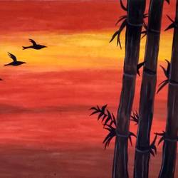 an evening, 24 x 18 inch, shruti pantode,24x18inch,canvas,paintings,nature paintings   scenery paintings,poster color,GAL03208345435