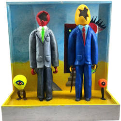 the immigrants attempt to fit in , 14 x 16 inch, ravi trivedy,14x16inch,wood board,handicrafts,sculptures,ceramic,GAL03265945436