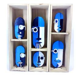 me, me, me, me, me and me (6 self portraits straitjacketed by finite spaces), 16 x 14 inch, ravi trivedy,16x14inch,hardboard,handicrafts,sculptures,ceramic,GAL03265945443