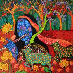 roots of divinity, 24 x 24 inch, arti vohra,24x24inch,canvas,religious paintings,radha krishna paintings,paintings for living room,paintings for living room,acrylic color,GAL0972745458