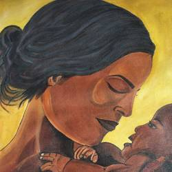a mother with her child, 17 x 23 inch, manjula mair,17x23inch,canvas,paintings,figurative paintings,paintings for dining room,paintings for living room,paintings for bedroom,paintings for dining room,paintings for living room,paintings for bedroom,acrylic color,GAL03022545462