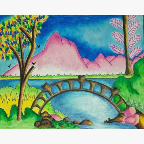 nature, 22 x 28 inch, niharika sharma,22x28inch,ivory sheet,paintings,landscape paintings,nature paintings | scenery paintings,paintings for dining room,paintings for living room,paintings for bedroom,paintings for office,paintings for kids room,paintings for hotel,paintings for school,pastel color,GAL03270445465
