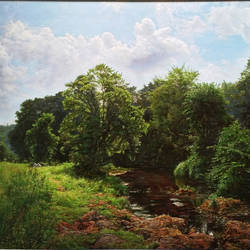 my village stream , 30 x 22 inch, sanjay  sarfare ,landscape paintings,paintings for living room,paintings,canvas,oil,30x22inch,GAL016074547