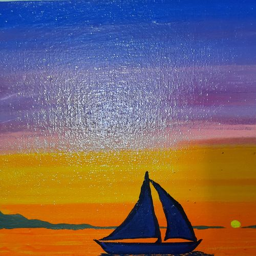 beautiful sunset, 11 x 14 inch, krithika srinivasan,11x14inch,canvas board,paintings,landscape paintings,paintings for living room,acrylic color,GAL03270145485