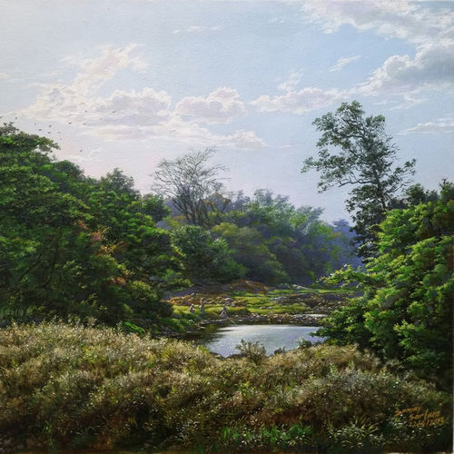 river in national park, borivali , 20 x 15 inch, sanjay  sarfare ,landscape paintings,paintings for living room,paintings,canvas,oil,20x15inch,GAL016074549
