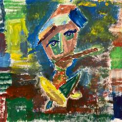 men with cigar, 12 x 18 inch, yuvraj  jain,12x18inch,thick paper,paintings,abstract paintings,figurative paintings,folk art paintings,paintings for office,paintings for hotel,poster color,GAL03276845497