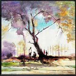 a talk, 18 x 18 inch, surya vamshi,nature paintings,paintings for living room,canvas,acrylic color,18x18inch,GAL0235455Nature,environment,Beauty,scenery,greenery,trees,people talk,beautiful,leaves,flowers