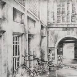historical place with cycle, 30 x 22 inch, krishna  mondal ,30x22inch,paper,drawings,illustration drawings,paintings for dining room,paintings for living room,paintings for bedroom,paintings for office,paintings for bathroom,paintings for kids room,paintings for hotel,paintings for kitchen,paintings for school,paintings for hospital,graphite pencil,GAL03095445517