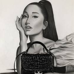 ariana grande portrait givenchy photoshoot, 12 x 17 inch, saman quamar,12x17inch,ivory sheet,paintings for bedroom,paintings for kids room,photorealism drawings,portrait drawings,realism drawings,paintings for bedroom,paintings for kids room,charcoal,graphite pencil,paper,GAL03279145525