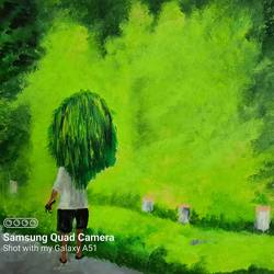 farmer carrying the grass in village, 18 x 14 inch, prafulla  vanmali ,18x14inch,canvas,paintings,nature paintings | scenery paintings,paintings for dining room,paintings for living room,paintings for hotel,paintings for hospital,acrylic color,GAL03084745529