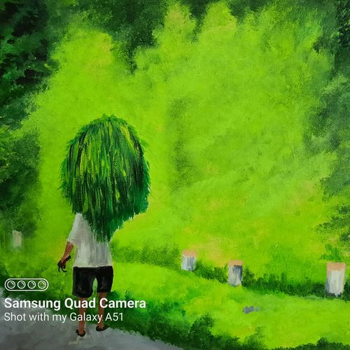 farmer carrying the grass in village, 18 x 14 inch, prafulla  vanmali ,18x14inch,canvas,paintings,nature paintings   scenery paintings,paintings for dining room,paintings for living room,paintings for hotel,paintings for hospital,acrylic color,GAL03084745529