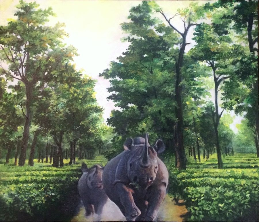 taking charge, 24 x 24 inch, tavishi kanoria,wildlife paintings,paintings for office,vertical,canvas,mixed media,24x24inch,GAL013964554