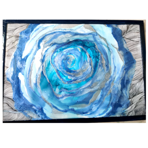 3d rose, 17 x 12 inch, manjushree ramachandrappa,17x12inch,thick paper,contemporary paintings,acrylic color,ink color,paper,GAL03279845542
