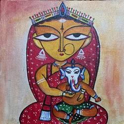 maa durga, 8 x 10 inch, paramita goswami,8x10inch,canvas,paintings,religious paintings,paintings for living room,paintings for living room,acrylic color,GAL03271845557