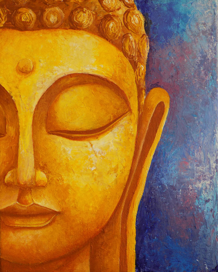 abstraction of buddha, 8 x 10 inch, debaditya sarkar,buddha paintings,paintings for living room,canvas,acrylic color,8x10inch,religious,peace,meditation,meditating,gautam,goutam,buddha,orange,side face,GAL03964556