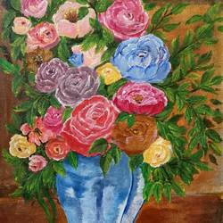 beauty of roses, 14 x 18 inch, paramita goswami,14x18inch,canvas,flower paintings,paintings for living room,paintings for living room,acrylic color,GAL03271845560