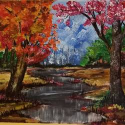 beautiful nature, 14 x 18 inch, paramita goswami,14x18inch,canvas,paintings,landscape paintings,nature paintings | scenery paintings,paintings for living room,paintings for bedroom,paintings for office,paintings for kids room,acrylic color,GAL03271845564