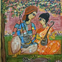 folk artist - baul, 14 x 18 inch, paramita goswami,14x18inch,canvas,paintings,folk art paintings,paintings for living room,paintings for bedroom,acrylic color,GAL03271845566