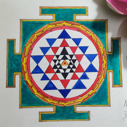 sriyantra, 8 x 12 inch, darshan shankar,8x12inch,thick paper,religious paintings,watercolor,GAL03281845567