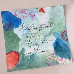 calligraphy quote, 9 x 9 inch, tara nair,abstract paintings,paintings for office,arches paper,mixed media,9x9inch,GAL016174557