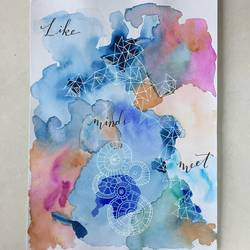 calligraphy caption, 8 x 12 inch, tara nair,abstract paintings,paintings for dining room,renaissance watercolor paper,watercolor,8x12inch,GAL016174558