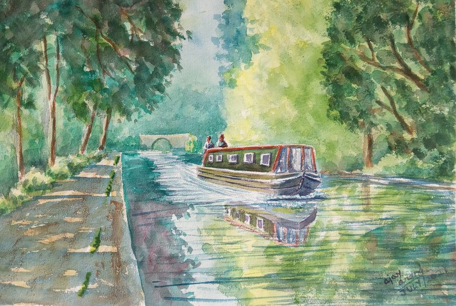 Boat on canal in yorkshire