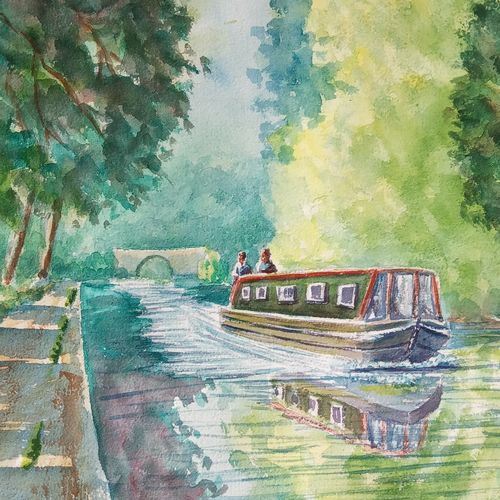 boat on canal  in yorkshire , 16 x 11 inch, ajay anand,16x11inch,handmade paper,paintings,landscape paintings,nature paintings | scenery paintings,impressionist paintings,paintings for dining room,paintings for living room,paintings for bedroom,paintings for office,paintings for hotel,watercolor,GAL01783945583
