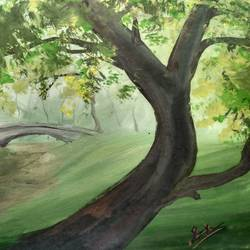 the garden bridge, 12 x 8 inch, anirban  kar,landscape paintings,paintings for living room,paper,poster color,12x8inch,GAL015604562