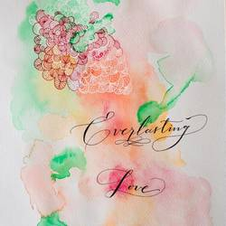 calligraphy love quote, 8 x 12 inch, tara nair,abstract paintings,paintings for bedroom,fabriano sheet,watercolor,8x12inch,GAL016174563