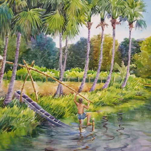 irrigation, 15 x 11 inch, anjan  laha,15x11inch,canson paper,paintings,landscape paintings,nature paintings | scenery paintings,impressionist paintings,realism paintings,paintings for dining room,paintings for living room,paintings for bedroom,paintings for kids room,paintings for hotel,paintings for school,paintings for hospital,watercolor,GAL02936145633