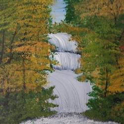 waterfall in the woods, 10 x 10 inch, gitika singh,10x10inch,canvas,paintings,landscape paintings,nature paintings | scenery paintings,art deco paintings,contemporary paintings,water fountain paintings,paintings for dining room,paintings for living room,paintings for bedroom,paintings for office,paintings for bathroom,paintings for kids room,paintings for hotel,paintings for kitchen,paintings for school,paintings for hospital,acrylic color,GAL01865445636