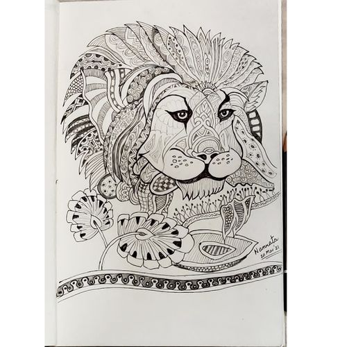 lion - symbol of courage and bravery, 6 x 8 inch, namrata s,6x8inch,thick paper,drawings,art deco drawings,fine art drawings,modern drawings,paintings for living room,paintings for office,paintings for kids room,pen color,pencil color,paper,GAL03245945638