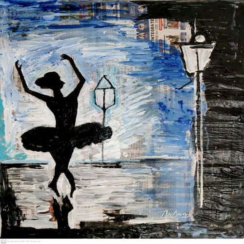 ballet-14, 21 x 27 inch, anand manchiraju,21x27inch,canvas,paintings,figurative paintings,impressionist paintings,paintings for dining room,paintings for living room,paintings for bedroom,paintings for office,paintings for kids room,paintings for hotel,acrylic color,GAL01254045639