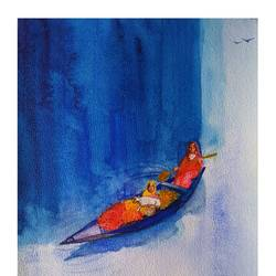 mothers of india, 12 x 24 inch, harshada shiv,12x24inch,renaissance watercolor paper,abstract paintings,figurative paintings,landscape paintings,modern art paintings,mixed media,natural color,GAL03288345645