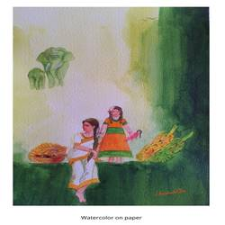 mothers of india, 12 x 20 inch, harshada shiv,12x20inch,renaissance watercolor paper,paintings,abstract paintings,figurative paintings,folk art paintings,landscape paintings,mixed media,natural color,GAL03288345646