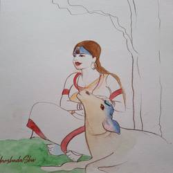 krishnamay, 10 x 14 inch, harshada shiv,10x14inch,renaissance watercolor paper,paintings,figurative paintings,folk art paintings,landscape paintings,natural color,pencil color,GAL03288345652