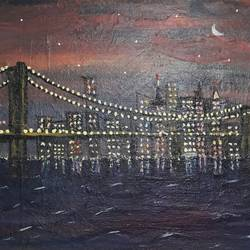 new york bridge, 12 x 10 inch, dattatreya b s,cityscape paintings,paintings for living room,canvas board,acrylic color,12x10inch,GAL016124566