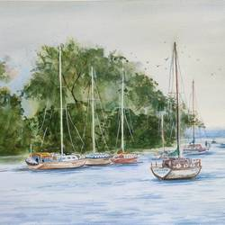 landscape, 16 x 12 inch, ram mohan e,16x12inch,paper,paintings,cityscape paintings,landscape paintings,nature paintings | scenery paintings,impressionist paintings,paintings for dining room,paintings for living room,paintings for office,paintings for kids room,paintings for hotel,paintings for school,paintings for hospital,watercolor,GAL069745663